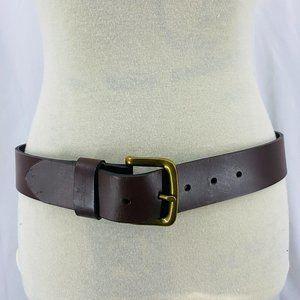 Carhartt Mens Brown Leather Belt Brass Buckle